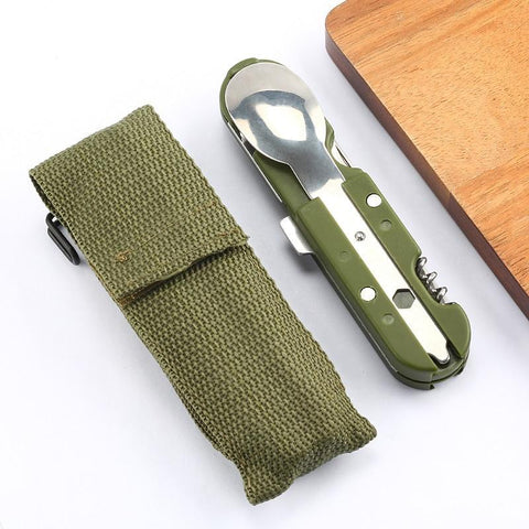 Multifunction Camping Tableware Ultralight Portable Foldable Tools, Stainless Steel Multi Tools Spoon,Fork,Knife,Bottle Opener