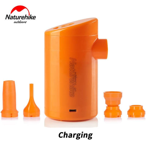 Naturehike Electric Inflatable Pump For Outdoor Air Mat Camping Moisture-proof Mattress Travel Pillow Mini Portable Inflatable (Orange Charging 5.5x10cm)