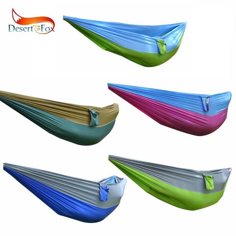 Desert&Fox Outdoor Hammock Nylon Fabrics Double Person Rope Multi-color Hanging Bed with Portable Storage Bag