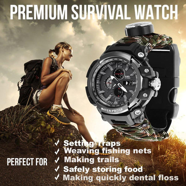 EDC Outdoor Survival Watch Multi-functional Waterproof 50M Paracord Bracelet Watch for Men Women Camping Hiking Emergency Gear
