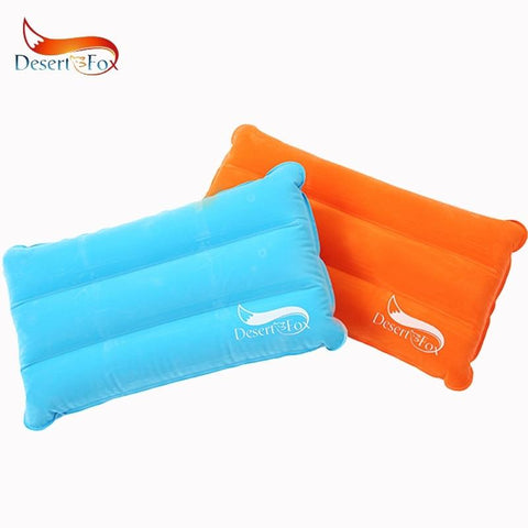 Desert&Fox 1pc Camping Air Inflatable Pillow Portable Folding Double Sided Flocking Outdoor Travel Pillow, Foldable Small Space