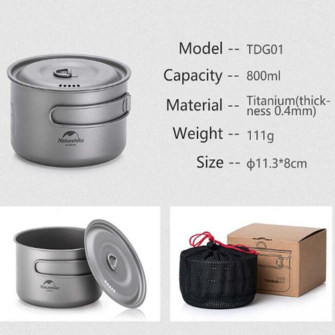 Naturehike Lightweight High Strength Titanium Cookware Outdoor Camping Pot Portable Frying Pan Self-cleaning Function