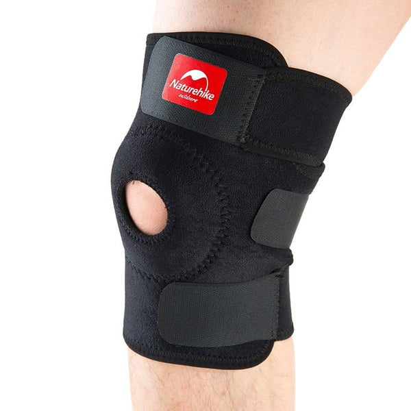 NatureHike Adjustable Elastic Knee Support Brace Kneepad Patella Knee Pads Hole Sports Kneepad Safety Guard Strap For Running (Black)