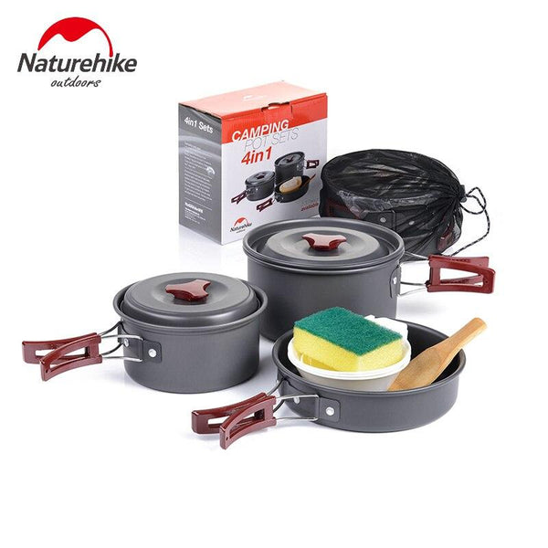 Naturehike Camping Cookware 2-3 Person Camping Pot Aluminium alloy Set Folding Pots and Pans Lightweight Non-stick Picnic Pot (Pot sets)