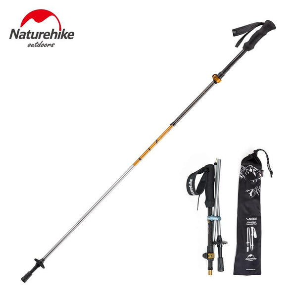 Naturehike Walking Stick Carbon Fiber + Aluminum alloy Trekking Pole Hiking Cane Ultra-light folding Adjustable 135cm 234g