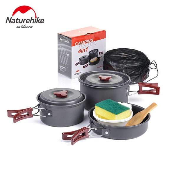 Naturehike Camping Cookware 2-3 Person Camping Pot Aluminium alloy Set Folding Pots and Pans Lightweight Non-stick Picnic Pot