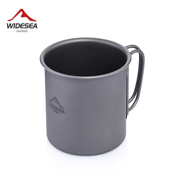 Widesea Ultralight Titanium Cup Outdoor Camping Picnic Water Cup Mug with Foldable Handle 300ml
