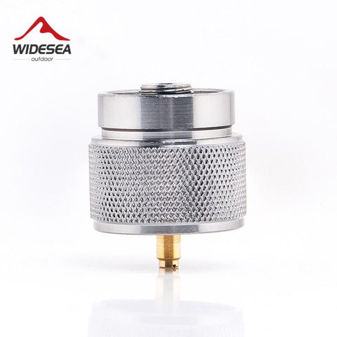 Widesea 1 lb. propane small gas tank input EN417 Lindal Valve Output outdoor camping stove Convert cylinder LPG canister adapter