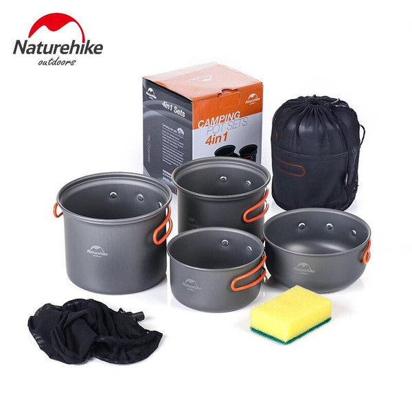 Naturehike Camping Cookware 3 Person hiking Pot family dinner Folding Pots sets Lightweight Picnic Pot Pans Aluminum alloy