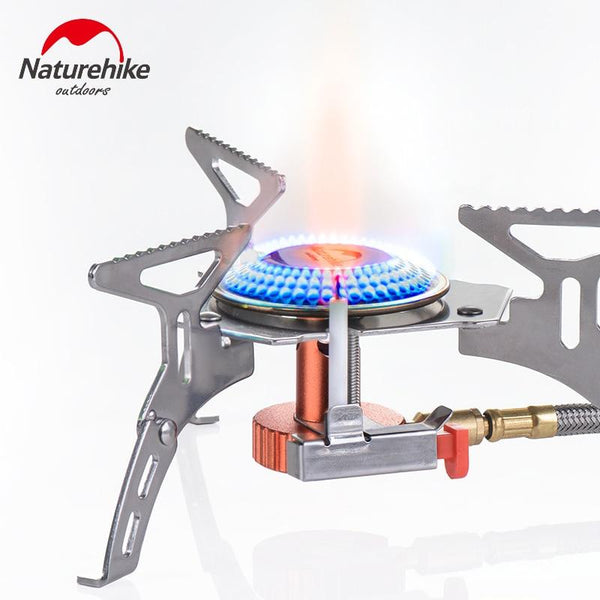 Naturhike Outdoor stoves Stainless Steel Portable Foldable Picnic Gas Stove For Camping Aluminum Alloy Stove Case (White)