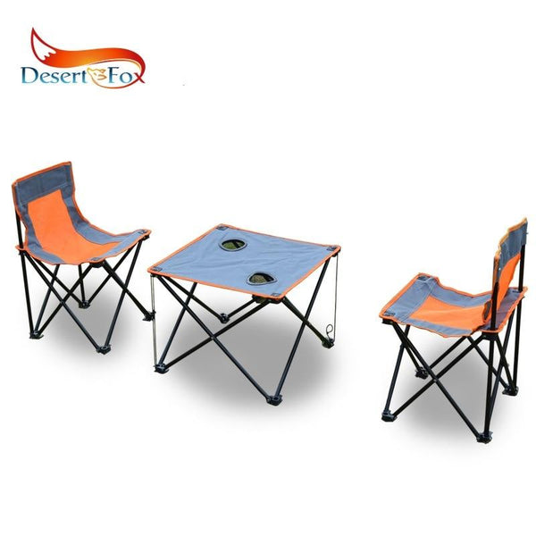 Desert&Fox Camping Foldable Chair & Table Set with Carry Bag,Outdoor Portable DIY Folded 2xChiar and 1xTable for Picnic Fishing