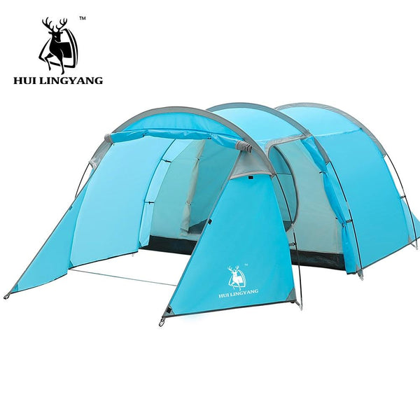 Camping tent Waterproof 3-4 person Double Layer Tunnel tent Outdoor camping hiking climbing ultralight large space Beach tents (Sky Blue)