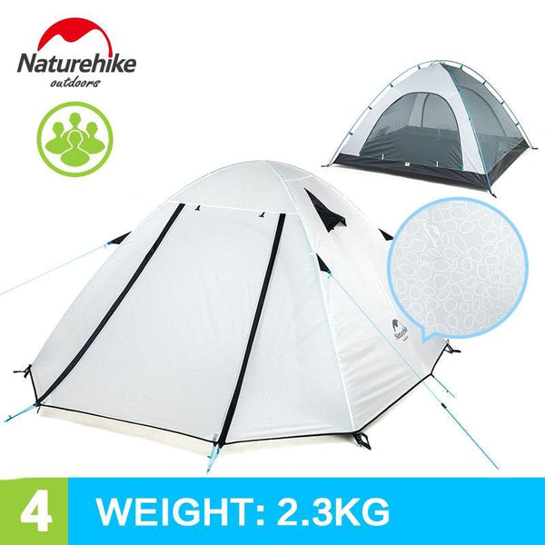 NatureHike 3-4 Person Camping Tent Double Layers Aluminum Rod 3 Season Outdoor Hiking Travel Play Tent Rainproof