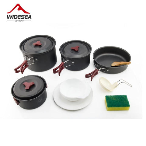Widesea 4-5 pepoles Camping Cookware travel Tableware outdoor cooking set Picnic set Backpacking Bowl Pot Pan utenils cutlery
