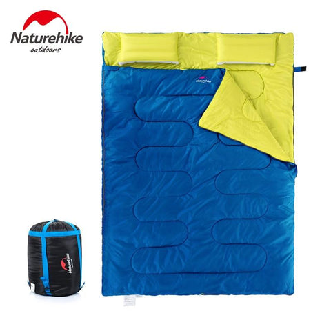 Naturehike 2.15m*1.45m Outdoor Double Sleeping Bag Envelope Spring and Autumn Camping Hiking Portable Sleeping Bag with Pillow