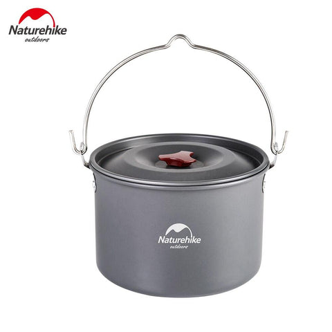 Naturehike Camping Pot 4-6 Person Hanging Cookware Pot Outdoor Camping Picnic Campfire Pot Picnic Tableware Ultralight aluminum (Black)