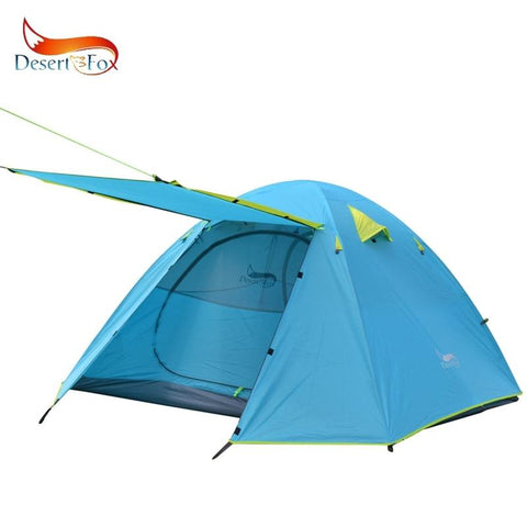 Desert&Fox 3-4 Person Family Tent, Lightweight Portable Alumimun Pole Waterproof Anti-Storm Double Layer 4 Season Camping Tent