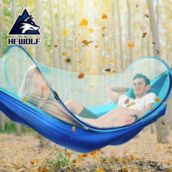 Outdoor double Hammock Swing Portable Parachute Cloth 2 Person  With Mosquito Net Backpacking Travel Survival Hunting Sleeping