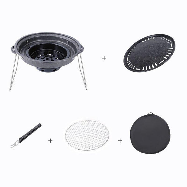 Hewolf Charcoal Korean Barbecue Outdoor Grill Non-Stick BBQ Round Pan Grills Easily Cleaned Smokeless Portable Stove Tool (One set)