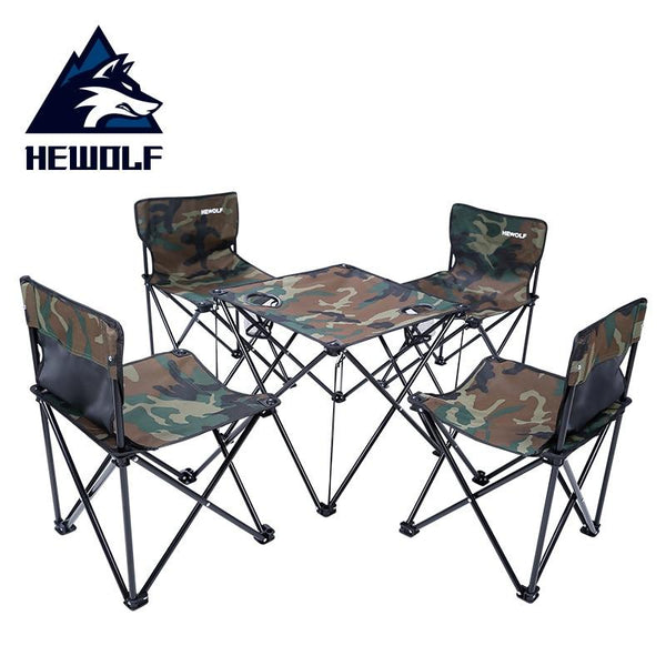 Outdoor Folding Tables And Chairs 5-piece Set Portable Ultralight Beach Picnic  Combination Field Road Car Camping