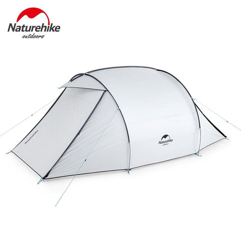 Naturehike Camping Tent Two-way Door Large Hall 3 People Family Tent Sunscreen Waterproof Outdoor Family Travel Camping Hiking (White)