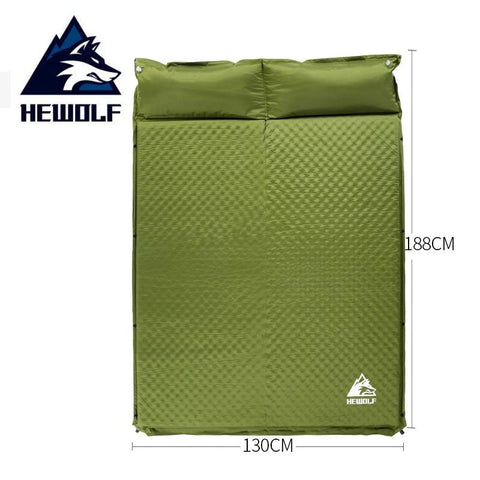 HEWOLF 2+1 spliced outdoor thick 5cm automatic inflatable cushion pad outdoor tent camping mats bed mattress 2 colors