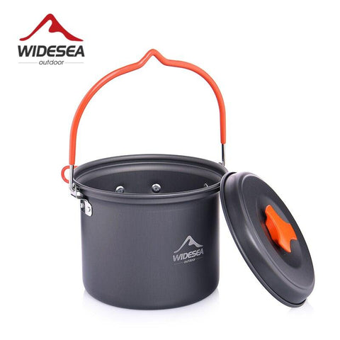 Widesea Camping Supplies Aluminum Hanging Pot Kitchen For Outdoor Cooking Nonstick Cookware 2~3 Persons For Tourism Hike Picnic