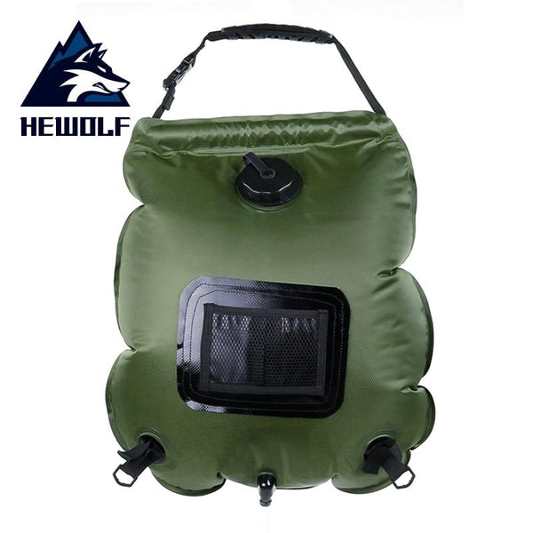 Hewolf Solar Bathing Bag Outdoor Self-Driving Camping Hot Water Bottle Portable Outdoor Bath Water Storage Bag 20L