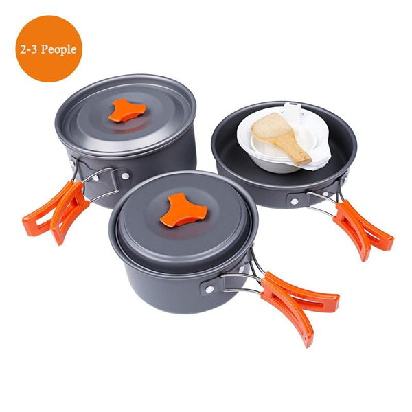 Hewolf Camping Cookware Outdoor Alumina Set Camping Portable Cooking Set Travel Tableware Hiking Picnic Set (1 set)