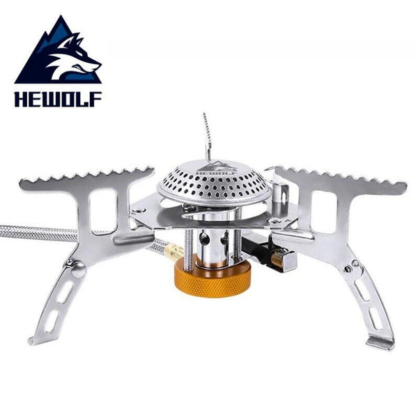 HEWOLF Folding Outdoor Camping Gas Stove Head Hiking Picnic Cooking Portable Stove Head Stainless Steel Cookware Gas Stoves (White)