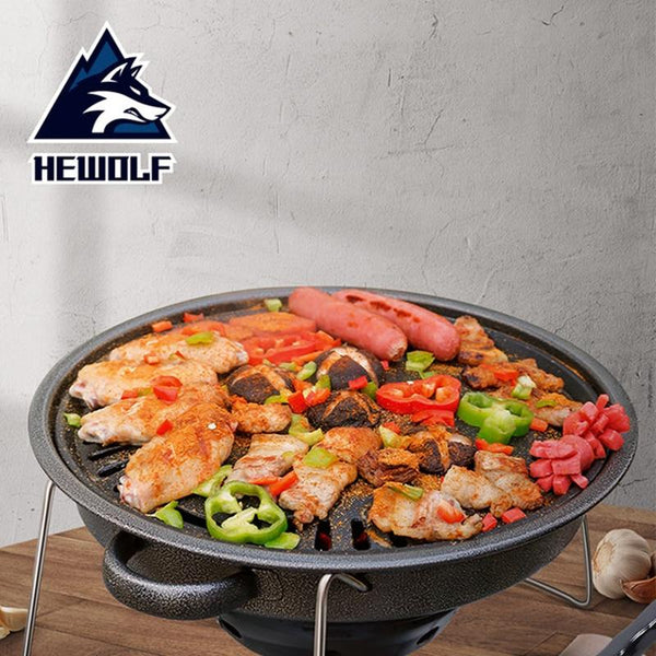 Hewolf Charcoal Korean Barbecue Outdoor Grill Non-Stick BBQ Round Pan Grills Easily Cleaned Smokeless Portable Stove Tool