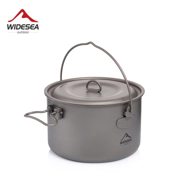 Widesea Camping Tableware Titanium Cookware set tourism cauldron Outdoor Cooking Pot Picnic Kitchen Hiking Trekking