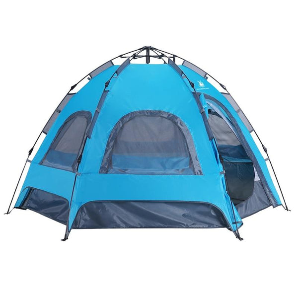 3-4 Person Camping Tent  Quick Automatic Opening Double Layer Windproof Waterproof tent Outdoor Hiking Tent Hexagonal Tents (Blue)