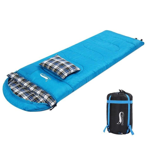 Desert&Fox 4 Season Flannel Sleeping Bag Attached Pillow Camping Sleeping Bags Portable Lightweight Backpack Bag with Sack
