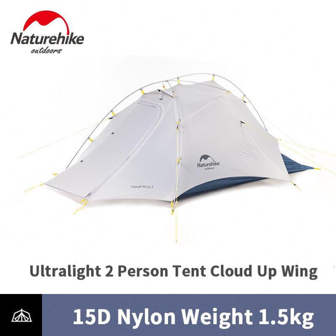 Naturehike New Arrive Cloud Up Wing Cuben Fiber 2 Person Camping Tent Ultralight 15D ProfssIonal Asia Outdoor Gold Award Tent NH