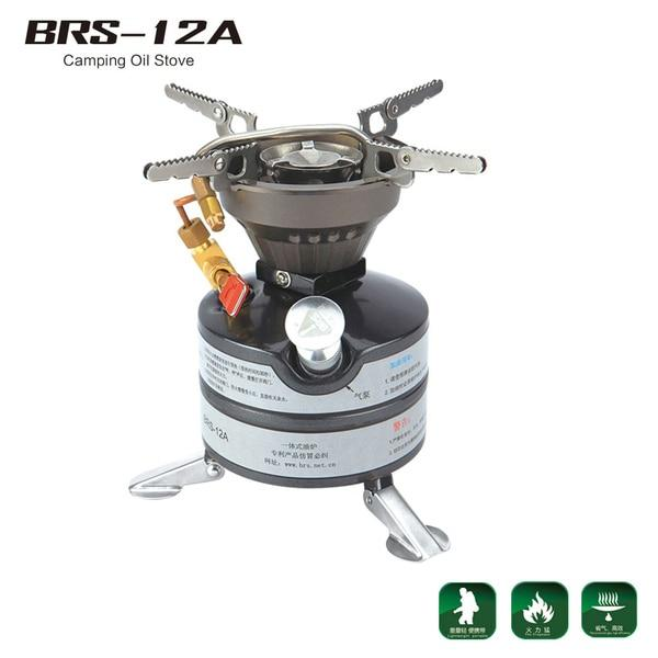 BRS Newest Mini Liquid Fuel Camping Gasoline Stoves Portable Outdoor One-piece Stove Burners Cooker Gas Stove for Outdoor Sports (BRS-12A)