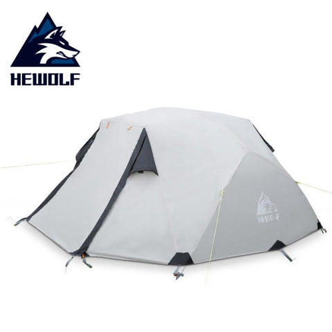 Hewolf Rain-proof Tow Person Double Decked Outdoor Camping Tent 7075 Aluminum Alloy Tent Pole Tent Portable Winter (Khaki)