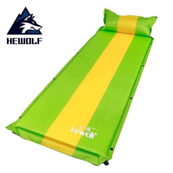 Hewolf 1-2 person Automatic Inflatable Camping Mat with Air Pillow Splicable outdoor Hiking Travel Fishing Tents mattress