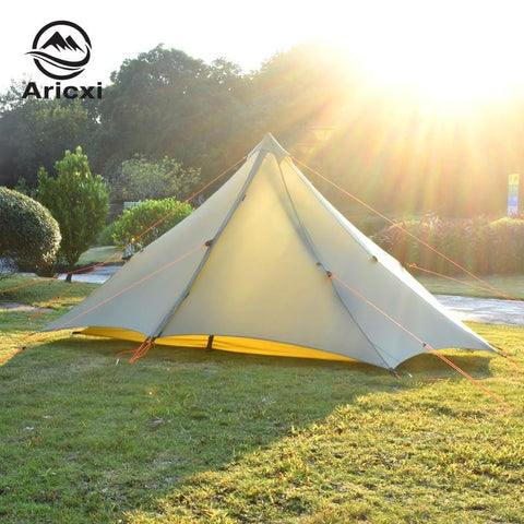 ARICXI 2 People Oudoor Ultralight Camping Tent 3 Season 20D Nylon double side Silicon Coating Rodless Tent (Gray)