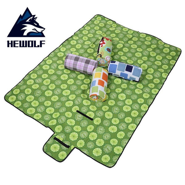 Hewolf Thicken Camping Mat Waterproof Aluminum Film Portable Beach Blanket Outdoor Picnic Ground Mat Mattress