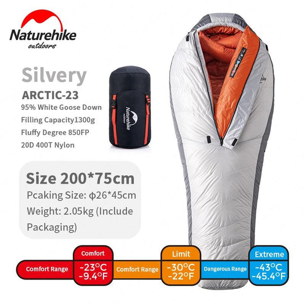 Naturehike Mummy -23℃ Sleeping Bag 850FP Goose Down Light Outdoor Alpine Series Thickening Windproof Hiking Winter Sleeping Bag