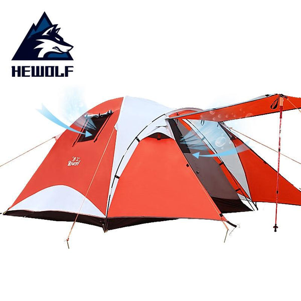 Hewolf Outdoor Camping 3~4 Person Tent Waterproof Double Layer Aluminum Rod Rainproof Large Family Tourist Tents for Hiking