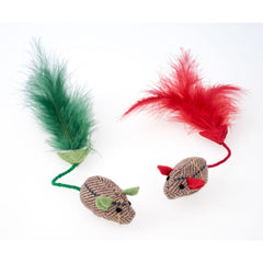 Petface Christmas 2 Pack Catnip Mice Tweed
