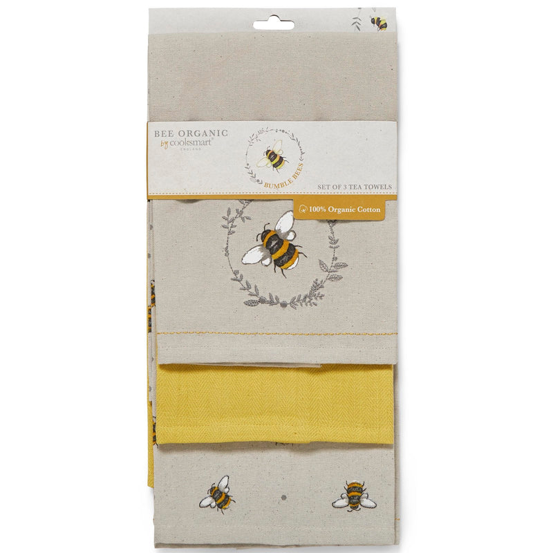 Bee Organic By Cooksmart set of 3 Tea Towels