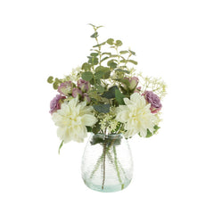 Dahlia & Roses in Ribbed Vase (Collection Only)