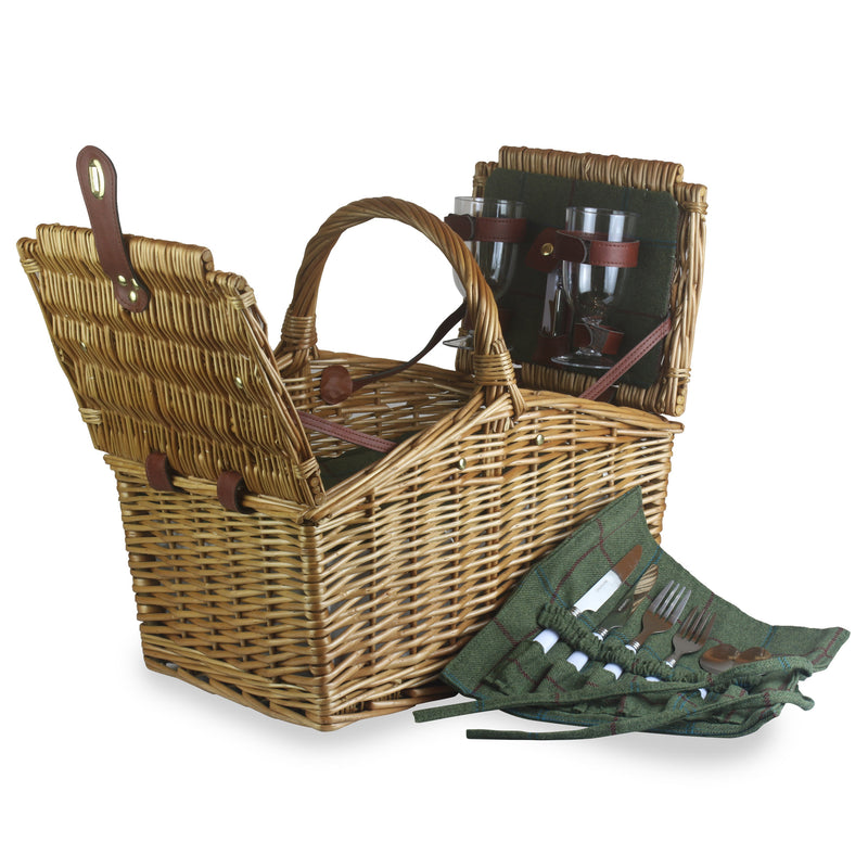 Traditional Style Green Tweed Picnic Hamper  - 2 Person (Collection Only)