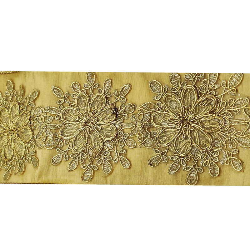 Gold Flower Embroidered Ribbon