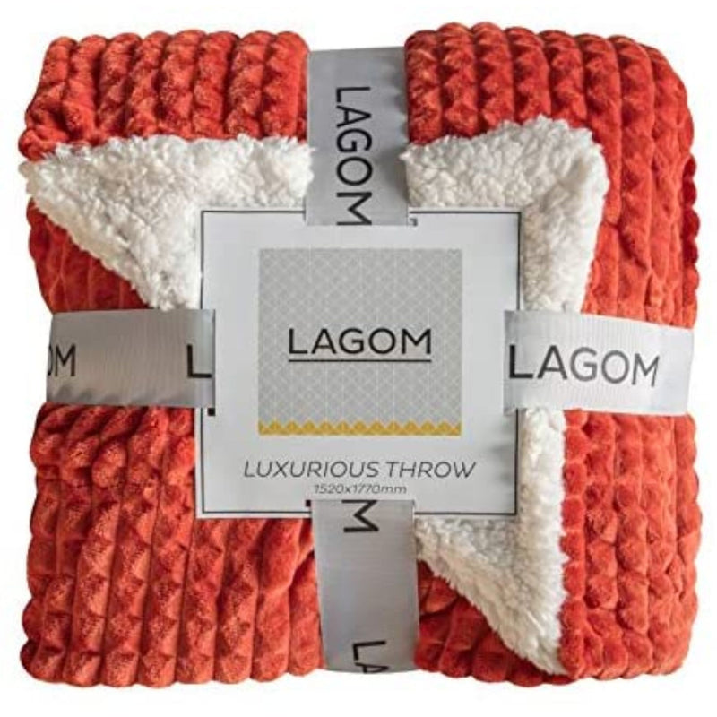 Lagom Luxurious Sherpa Throw Burnt Orange