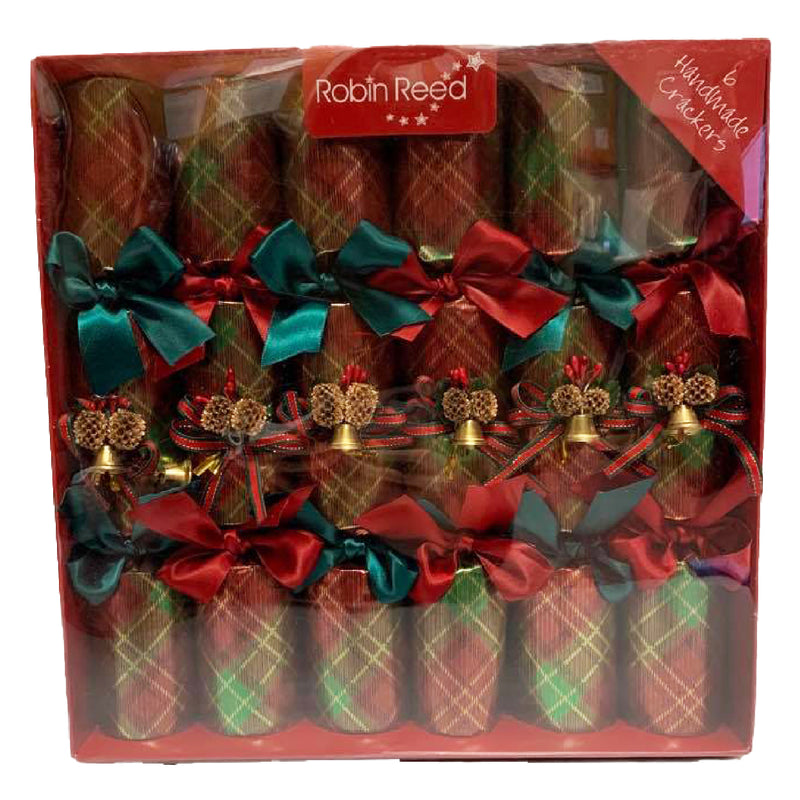 Robin Reed Christmas Tartan Bell Crackers (6 pack)