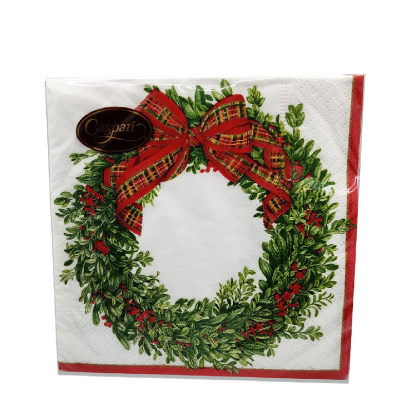 Caspari Boxwood and Berries Wreath Lunch Napkins